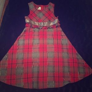 🔴Girls' Plaid Holiday Party Dress